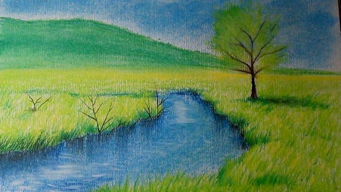 ejemplos de dibujos de paisajes para niños rio hierba montaña arbol cielo dibujos con lapices