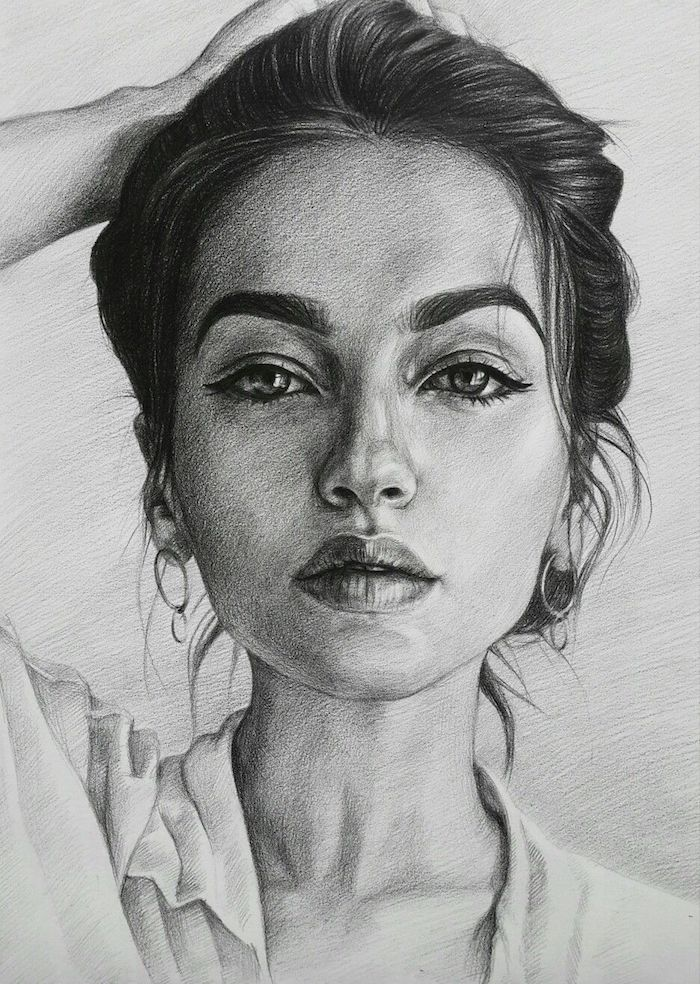 ideas sobre como dibujar la cara de una mujer en estilo realista, ideas de dibujos chulos y faciles de hacer, fotos de dibujos