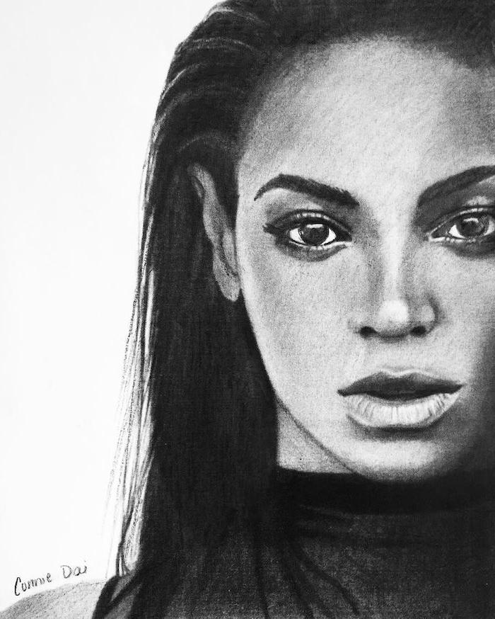 dibujo inspirador de Beyonce, fotos de dibujos chulos en estilo realista, como dibujar una cara paso a paso, como dibujar una cara facil, dibujos a lapiz faciles para principiantes