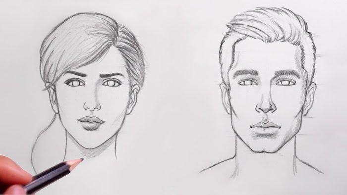 dibujos basicos de hombres y mujeres, cara de perfil, cara niño dibujo, dibujo cara mujer, dibujos a lapiz para principiantes