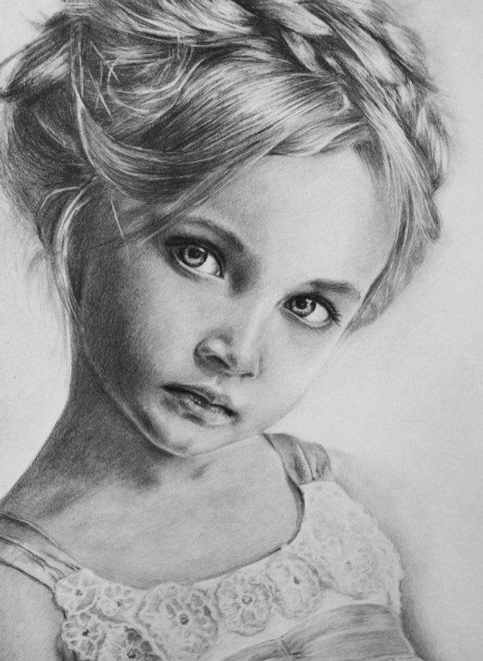 ideas de dibujos en estilo realista, geniales ideas sobre como dibujar la cara de una niña, fotos de dibujos a carboncillo