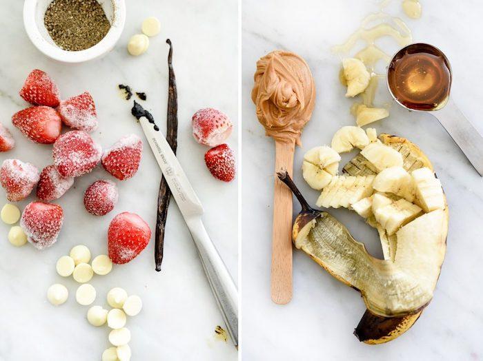 fresas platanos mantequilla de mani fresas congeladas helado de platanos recetas ricas de helado hecho en casa