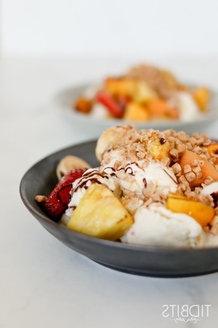frutas nueces helado blanco fresas como hacer helado de platano helado sin lactosa