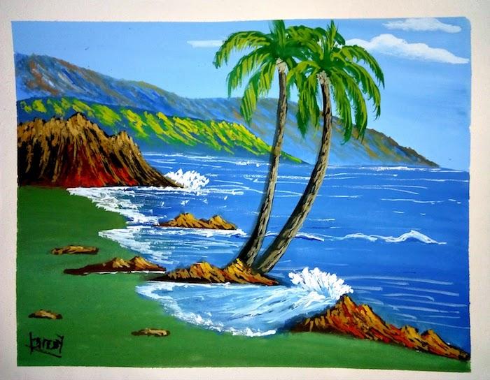 geniales ideas de dibujos del mar palmeras hierba rocas montañas mr cielo