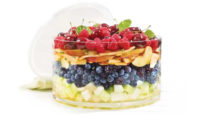 ensalada con mango, moras, bayas, receta de ensalada de frutas, macedonia de frutas, ideas de ensaladas