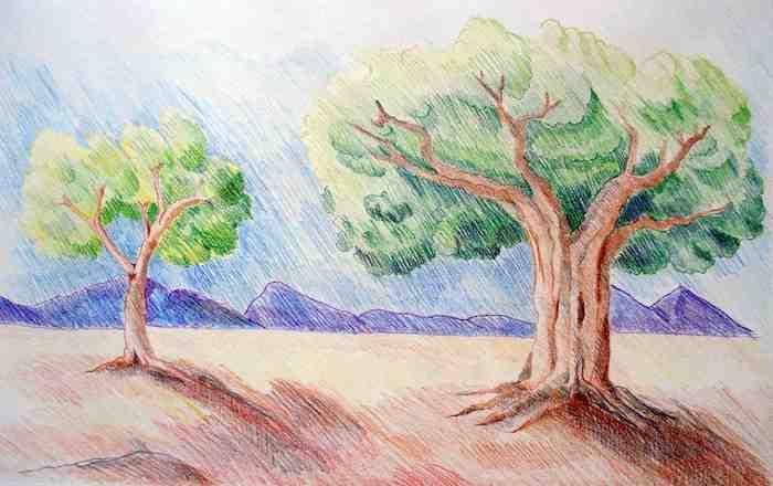hermoso dibujo paisaje con montañas arboles dibujos de paisajes fotos de dibujos chulos con lapices de color