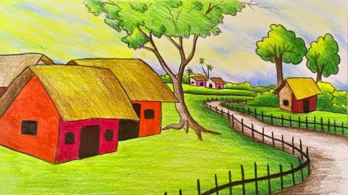 ideas de como dibujar un paisaje dibujos de casas pequeñas hierba verde arboles ideas de dibujos faciles y bonitos fotos de dibujos
