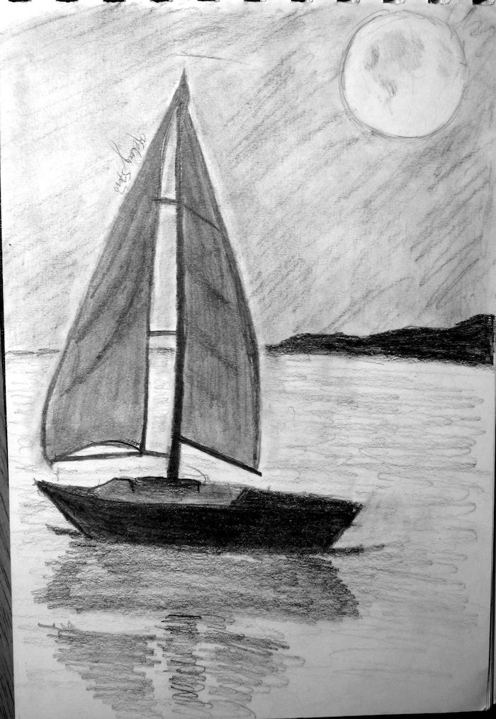 ideas de dibujos a lapiz barco mar luna llena dibujos faciles para principiantes y avanzados
