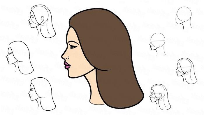 ideas sobre como dibujar el perfil de una mujer, fotos de dibujos chulos y faciles de hacer, ideas de dibujos originales