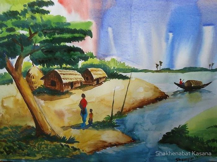 ideas de paisajes chulos casa barcos playas barcos dibujos de paisajes naturales cielo fotos de dibujos originales rio