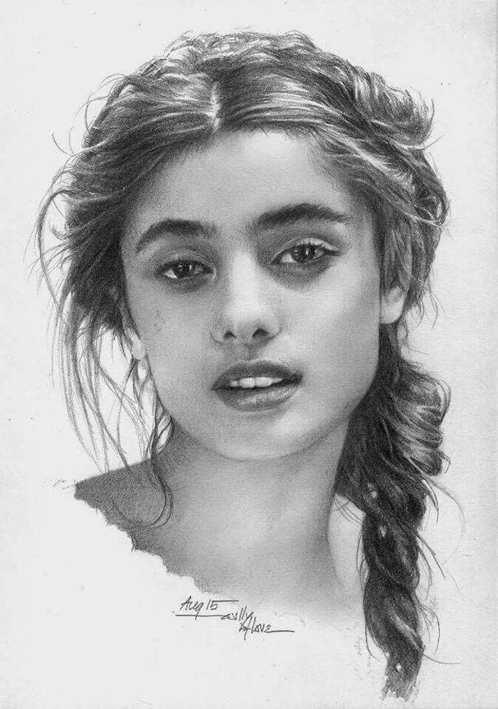 fotos de dibujos de niñas a carboncillo, ideas de dibujos chulos y faciles de hacer en casa, fotos de dibujos