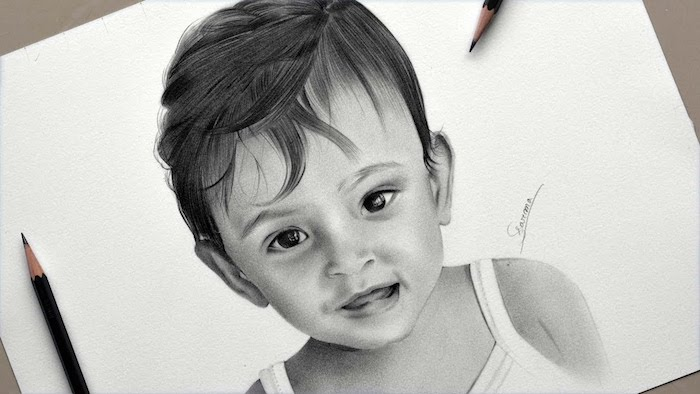 como dibujar a un niño en estilo realista, originales ideas de dibujos de niños faciles de hacer en casa, ideas de dibujos