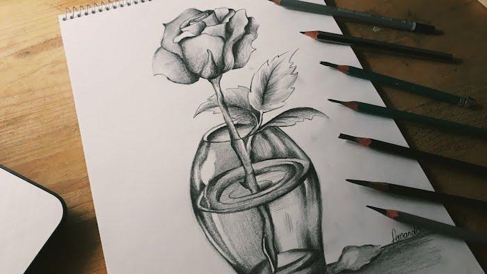 jarron con flores rosa dibujada a lapiz dibujos de flores bonitos ideas de dibujos chulos en blanco y negro
