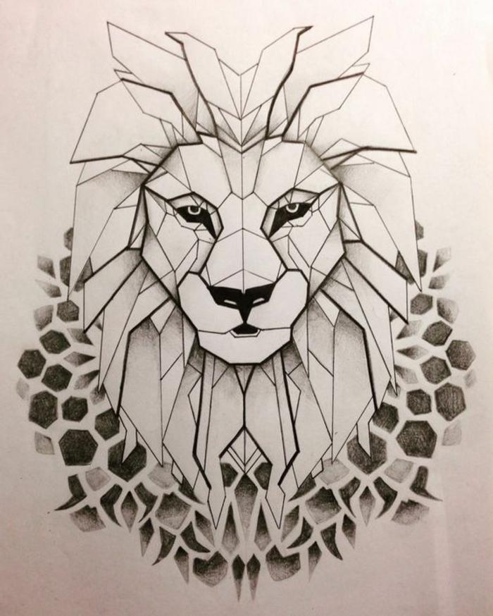dibujo geometrico leon, ideas de dibujos originales, fotos de dibujos de animales faciles de hacer, ideas para dibujar