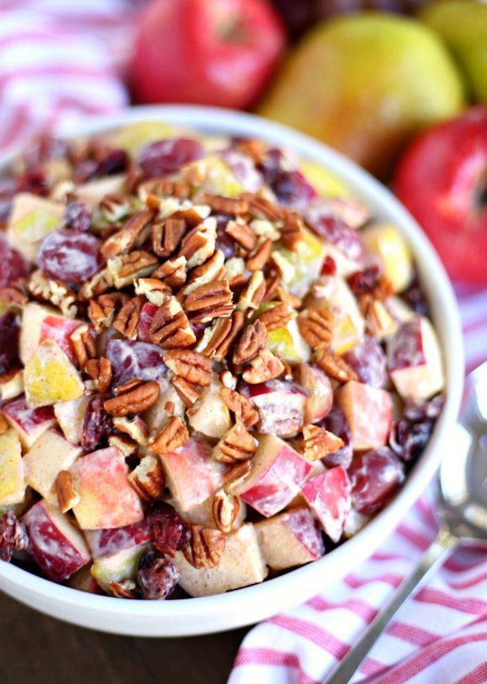 como hacer ensaladas con frutas y nueces, ensalada de frutas cortadas con nueces, ideas de ensaladas sanas