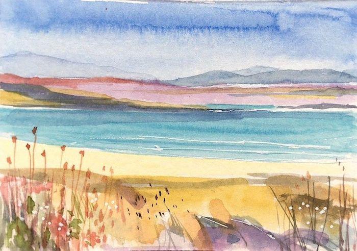 propuestas de dibujos bonitos para dibujar dibujos de playas acuarelas manchas de colores flores mar