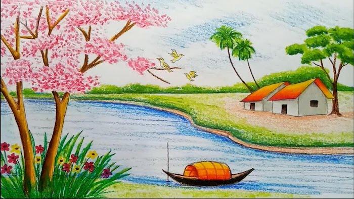 rio arboles casa flores v ideas de dibujos chulos con pasteles coloridos lapices dibujos originales ideas de dibujos chulos