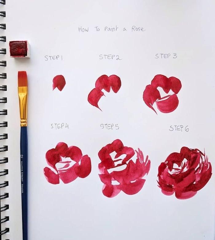 rosa roja dibujo con acuarelas flores para dibujar originales ideas de dibujos chulos con manchas de colores