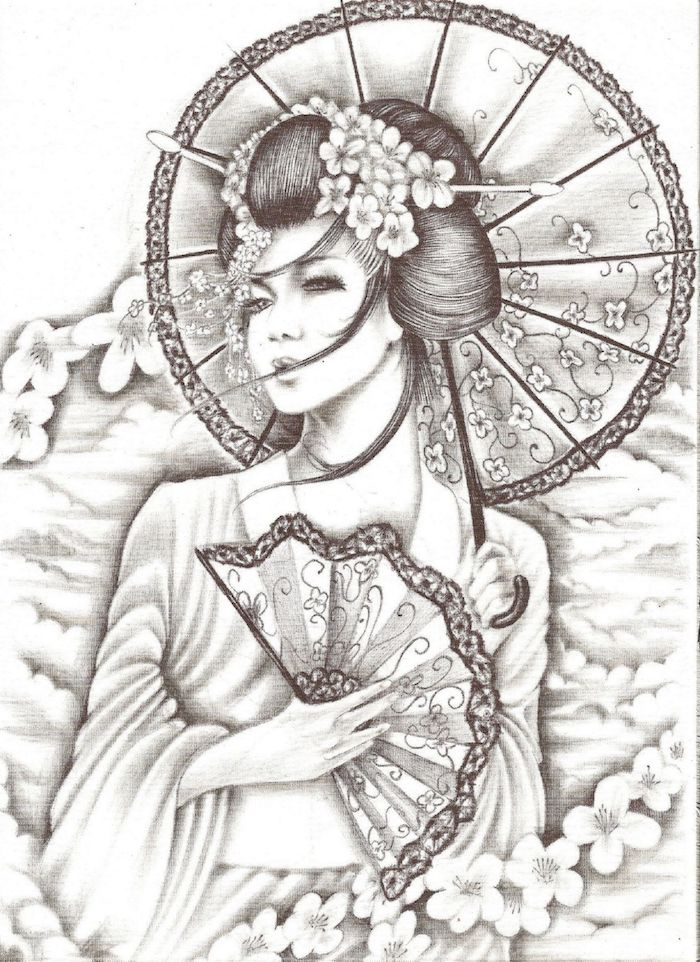 1 dibujos originales ideas de dibujos japoneses dibujo blanco y negro de una geisha fotos de dibujos