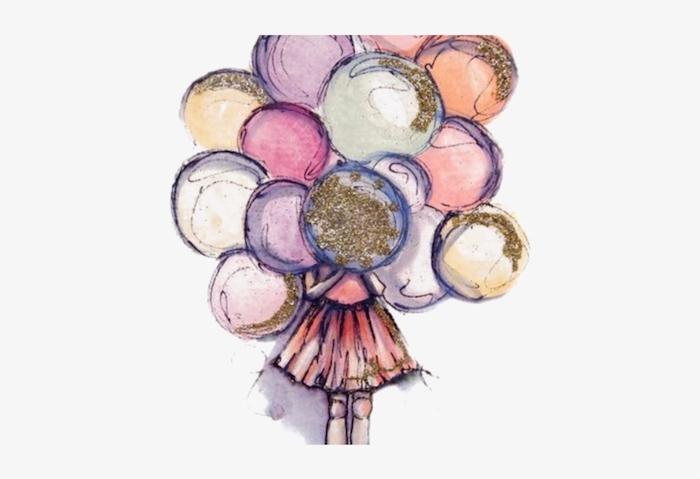 2 imágenes de felicitacion de cumpleaños dibujo en colores niña con globos ideas de dibujos originales y bonitos fotos de dibujos