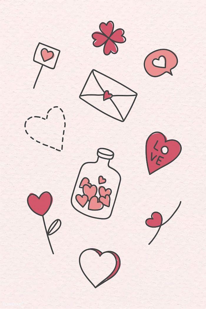 9 detalles de amor corazon botella llena de corazones sobres dibujos kawaii de amor ideas de dibujos originales