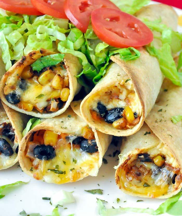 apetitosas ideas de batata asada fotos de entrantes ricos tortillas con frijoles negros maiz quesos ensalada verde