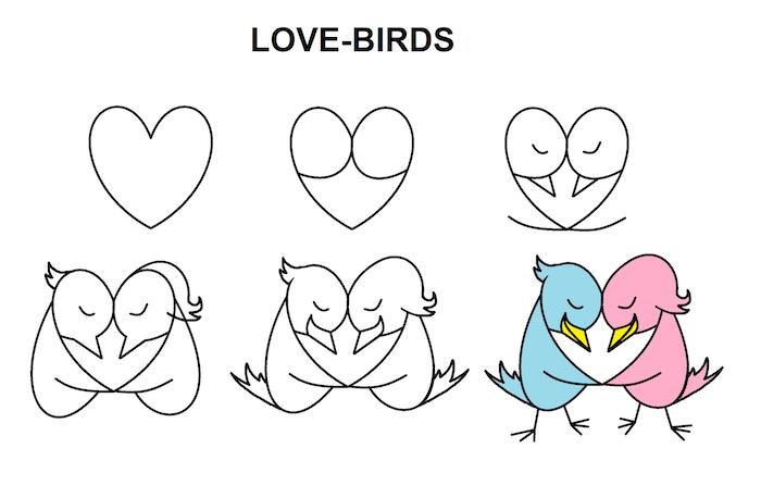 aves dibujos de amor faciles y chulos ideas de dibujos para principiantes pajaros enamorados