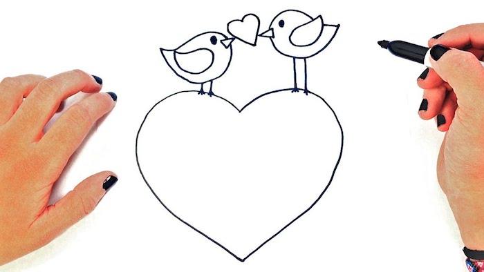 aves dibujos de corazones faciles de hacer ideas de dibujos con marcador negro