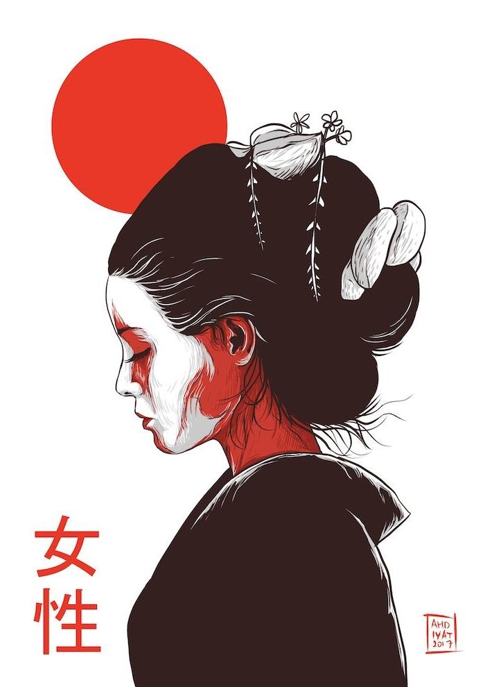 blanco negro rojo dibujo fotos dibujos arte japones ideas sobre como dibujar