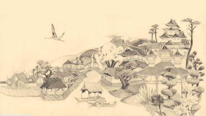 blanco y negro paisajes japoneses casas arboles castillos aves dibujos japoneses antiguos