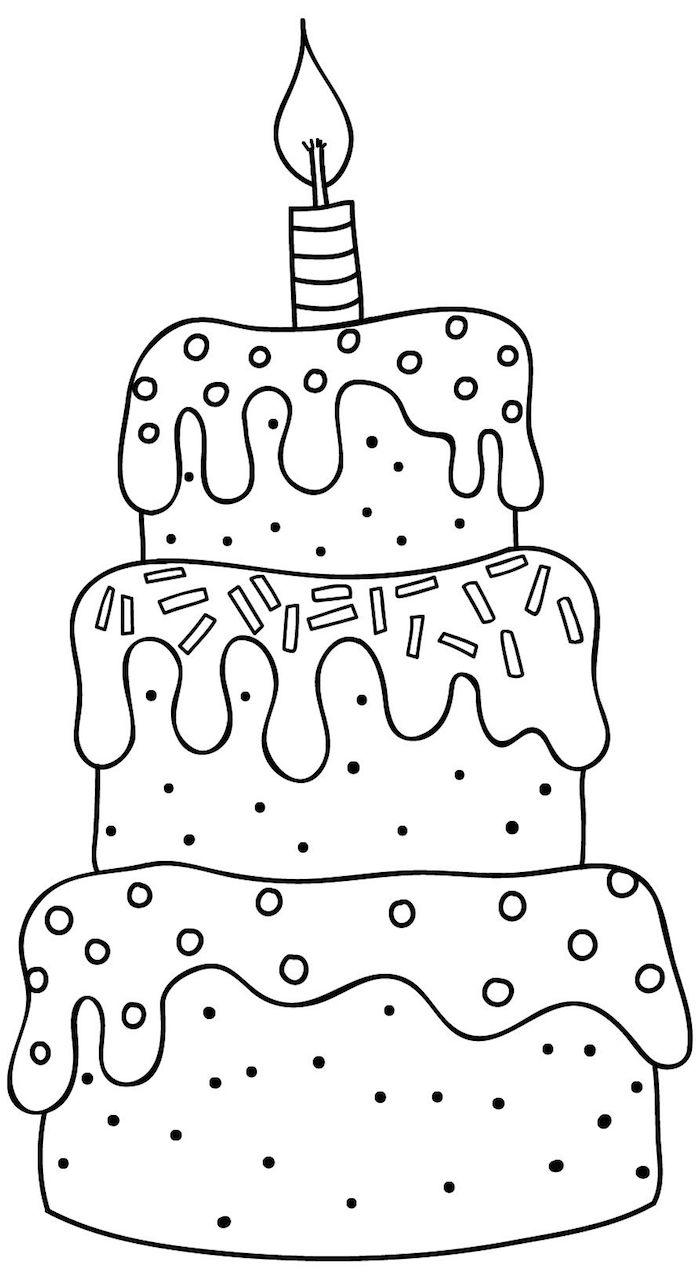 bonita tarta de cumpleaños fotos de dibujos de cumpleaños para colorear dibujos en blanco y negro faciles