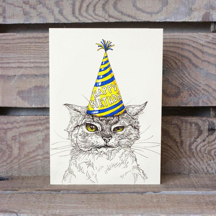 bonitas ideas de imágenes de felicitacion de cumpleaños fotos de dibujos de animales gato con sommbrero de fiesta ideas de dibujos