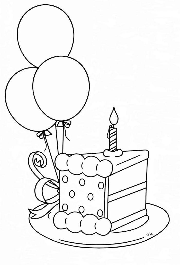 bonitas ideas de pastel de cumpleaños fotos de dibujos de cumpleaños chulos globos pedazo de tarta vela