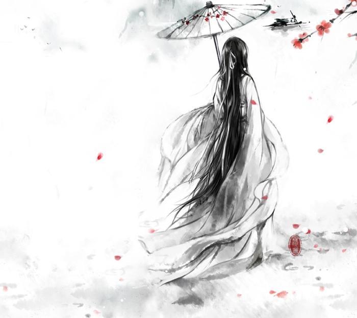 bonito dibujo geusha idesa de dibujos originales en blanco y negro fotos de dibujso