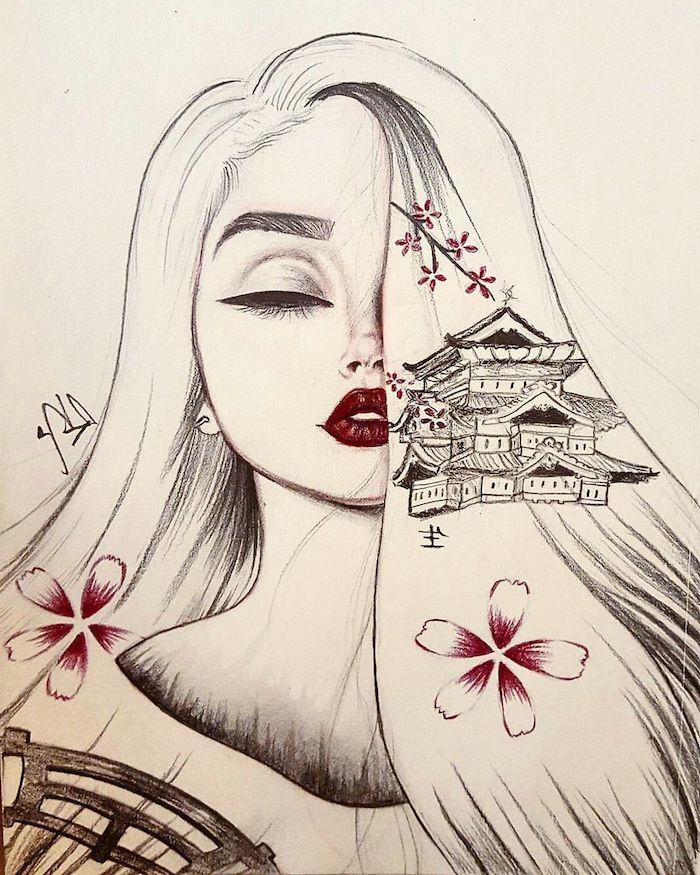bonito dibujo mujer castillo motivos florales ideas de dibujos originales que puedes dibujar en casa
