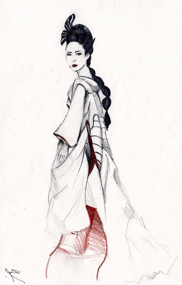 bonito dibujo mujer japonesa geisha ejemplos arte japones fotos de dibujos originales