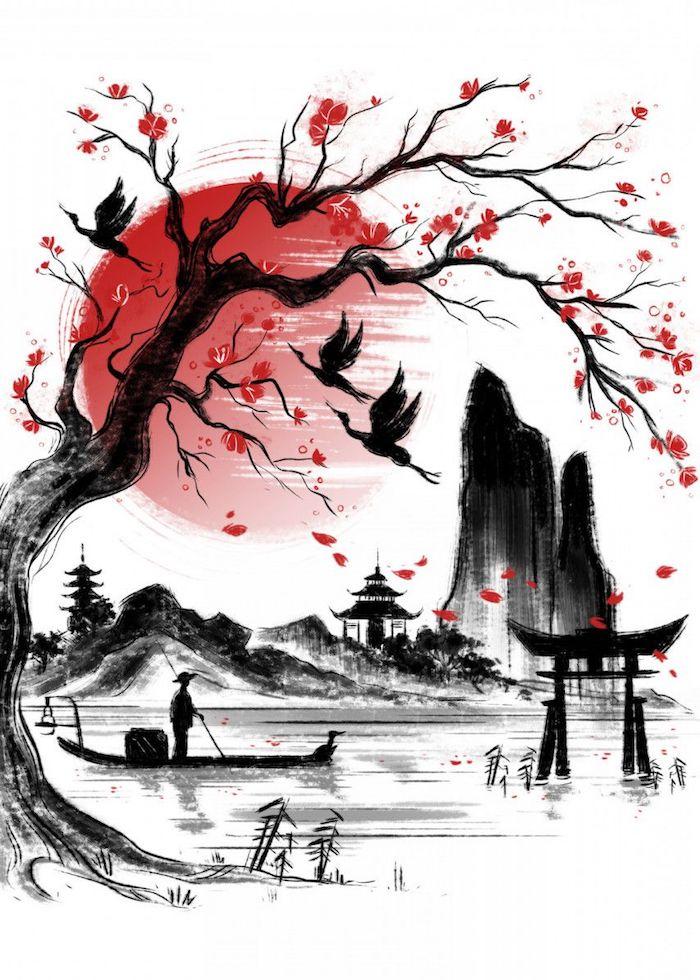 bonito paisaje con arboles aves barco ideas de dibujos preciosos en negro y rojo fotos de dibujos