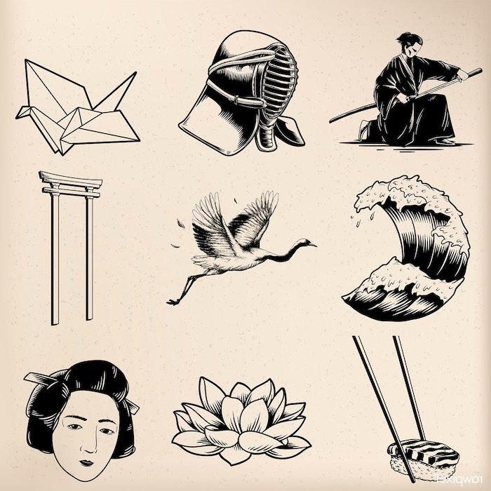 bonitos dibujos simbolos japoneses flor de loto aves samurai geishas dibujos animados japoneses