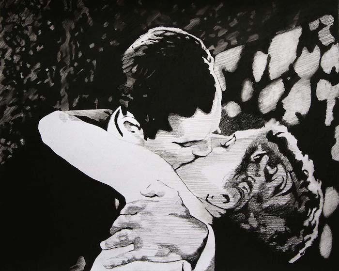 bonitos ejemplos de dibujos realista sbeso amor abrazo dibujos para colorear de amor