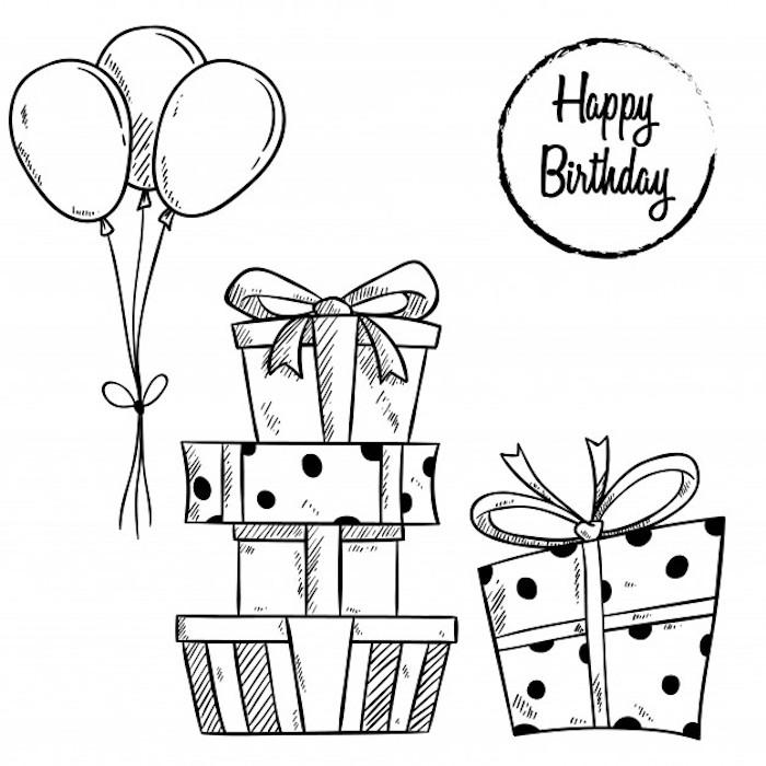 cajas con regalos dibujos cumpleaños blanco y negro globos cosas chulas para dibujar cumpleaños