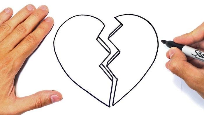 corazon roto dibujo marcador negro dibujos a lapiz faciles y originales ideas de dibujos sencillos originales