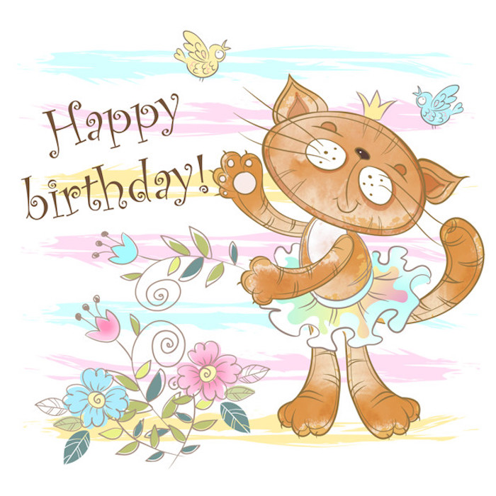 birthday card with a cute cat ballerina. vector. watercolor