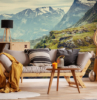 decoracion con fotomurales paisaje naturaleza montaña hermoso atmosphere comoda en el salon