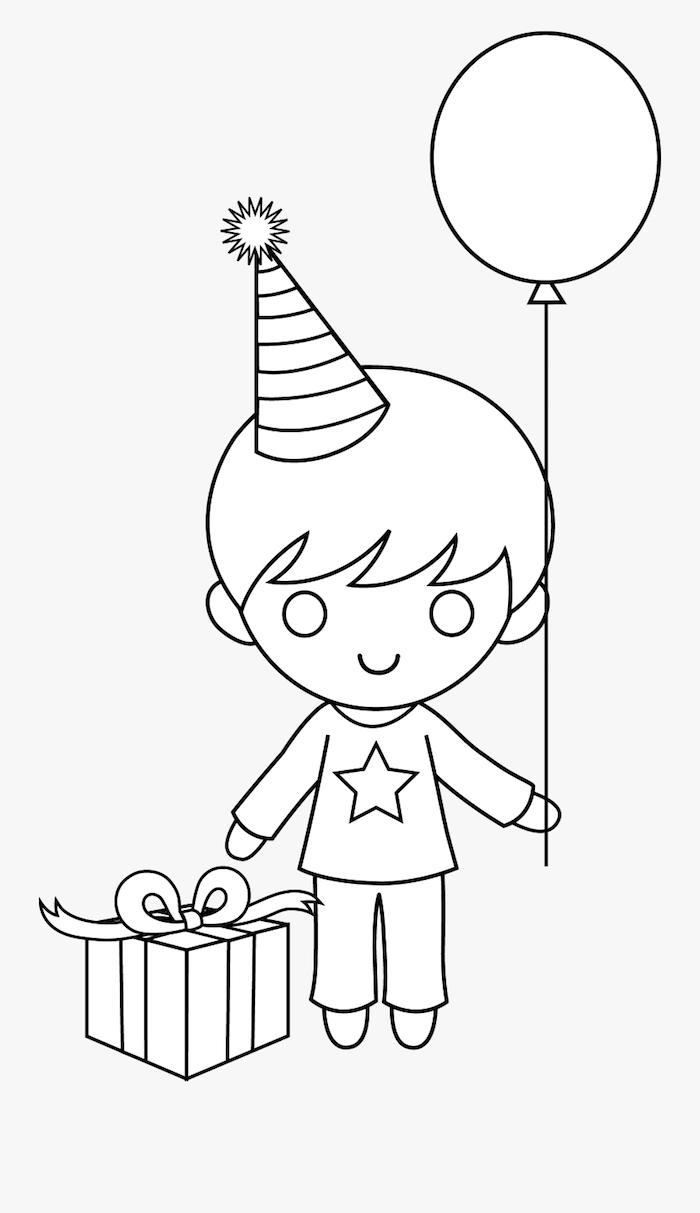 dibujos chulos para cumpleaños dibujo chico con globo paquete regalo