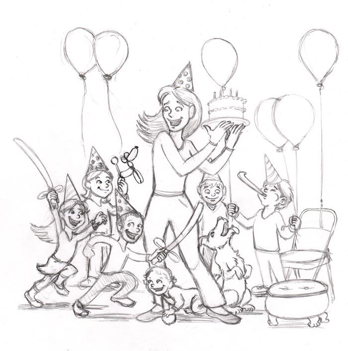 divertidas ideas de dibujos en blanco y negro tema cumpleaños dibujos de gente celebrando ideas de dibujos