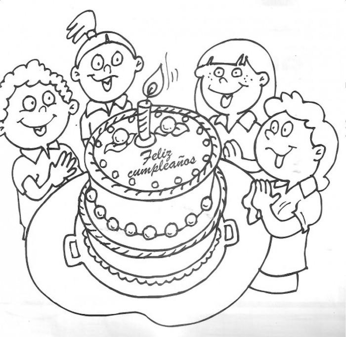 familia tarta de cumpleaños ideas de dibujos originales en blanco y negro fotos de dibujos