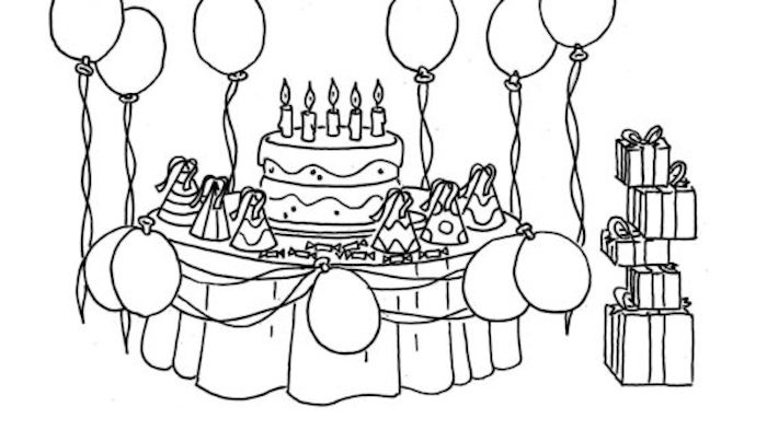 birthday party scene for drawing birthday party coloring pages bing images | coloriage