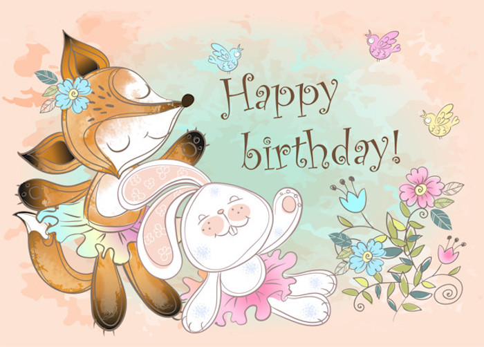 birthday card with a bunny and a cute fox. vector.