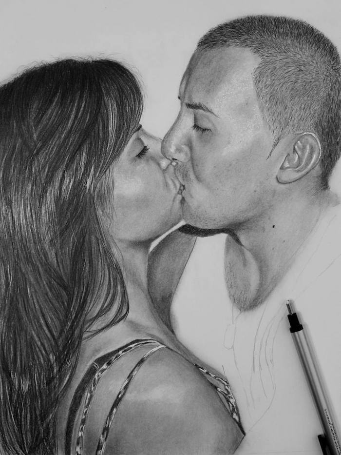 ideas de dibujos en estilo realista beso mujer hombre dibujos para colorear de amor dibujos a carboncillo