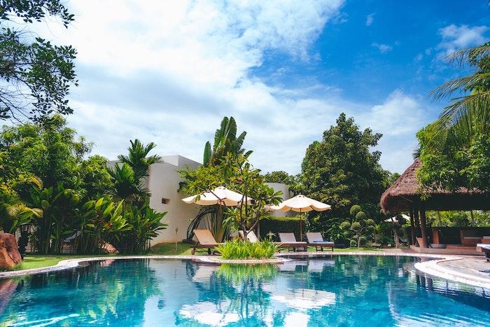 gran jardín piscina en forma exótica con palmeras y jardín verde hermosa villa
